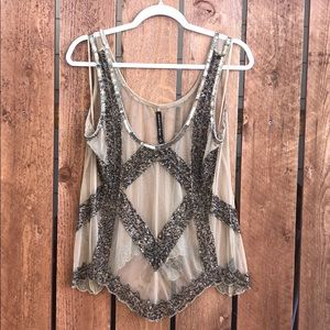 GORGEOUS 💕 Sheer Cream Beaded Tank Top - Med
